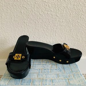 Tory Burch Rosie Wooden Wedge Clog Sandals Black